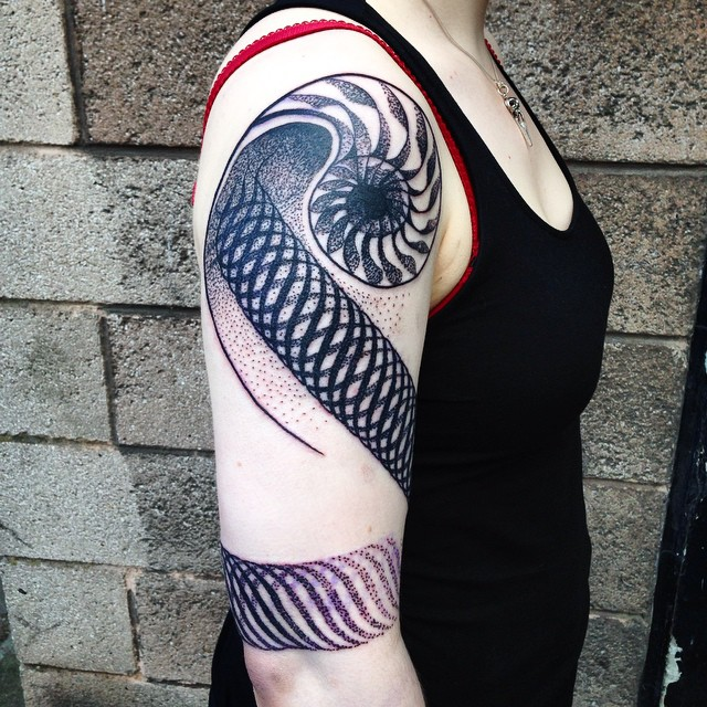 Spiral Loops Shoulder tattoo