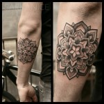 Star Flower Mandala Dotwork tattoo