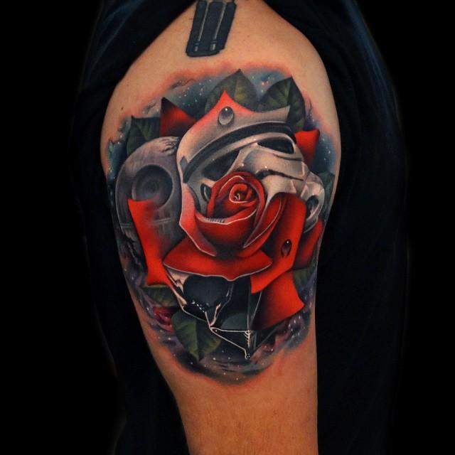 Star Wars Rose tattoo on Shoulder