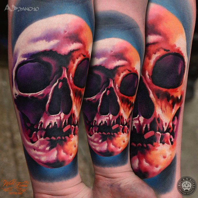 Teethless Skull tattoo on Arm