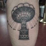 Thigh Carousel Dotwork tattoo