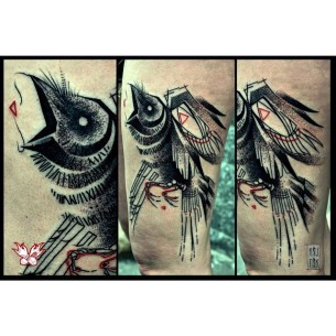 Thigh Crow tattoo