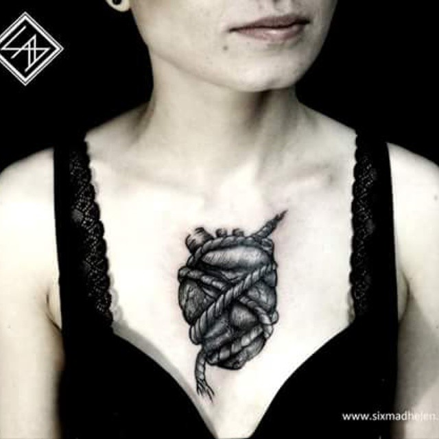 Tied Heart Chest tattoo