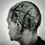 Trash Polka Dotwork Pattern Head tattoo