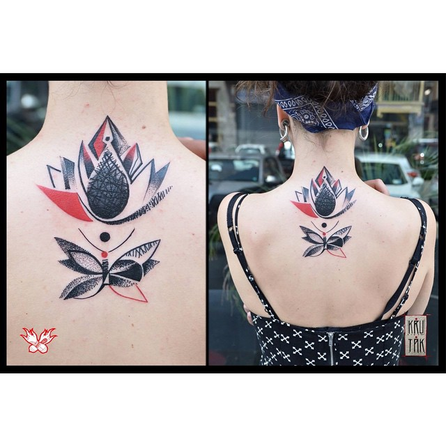 Trash Polka Lily tattoo on Back