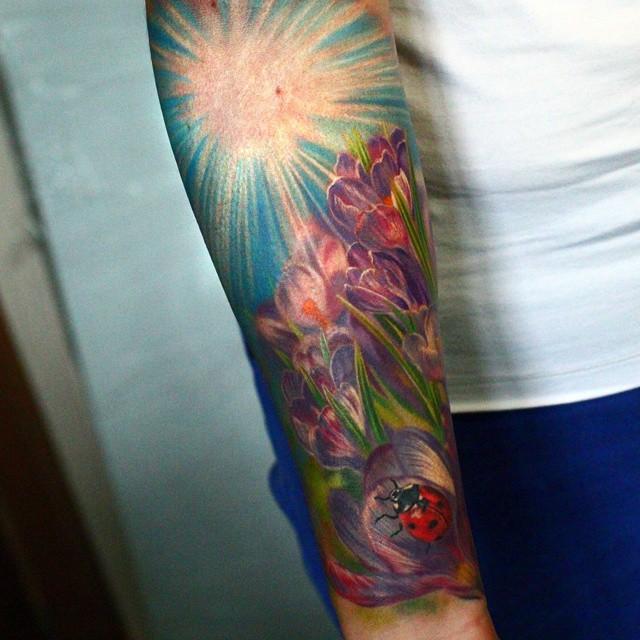Violet Flowers Ladybug tattoo