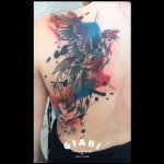 Watercolor Back Bird tattoo