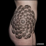 White Circles Mandala Hip Tattoo