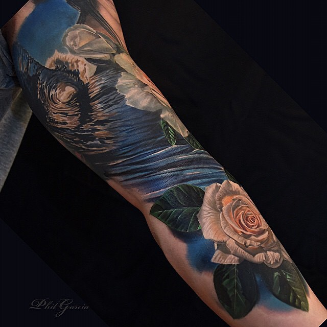 White Roses Wave tattoo on Arm
