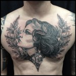 Woman in Flowers Graphic Chest tattoo