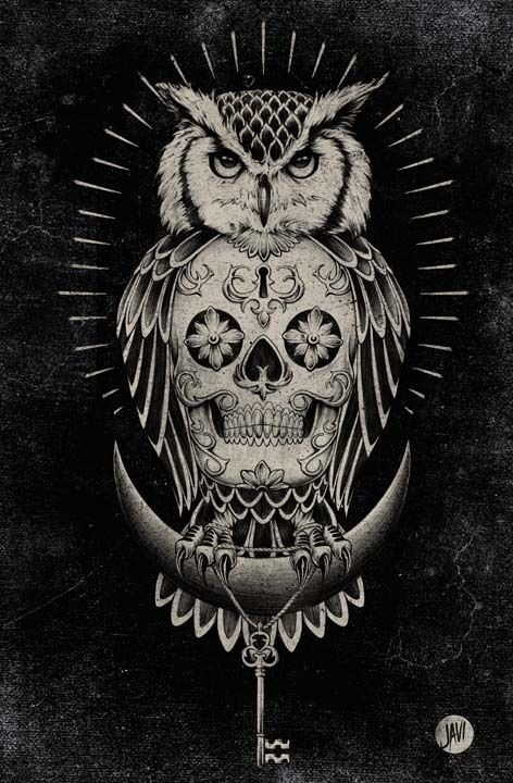mexican owl tattoo2