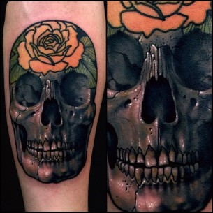 3D Skull and Rose Tattoo on Arm