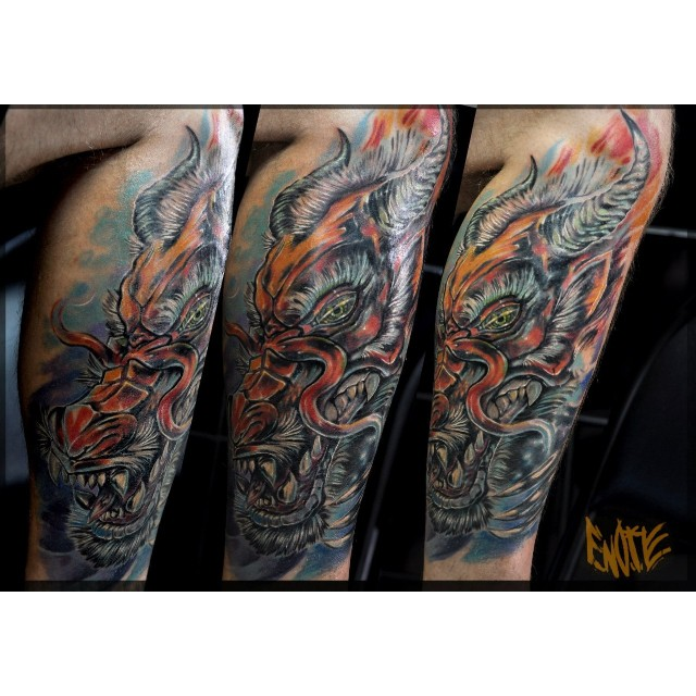 Amazing Leg Dragon Tattoo