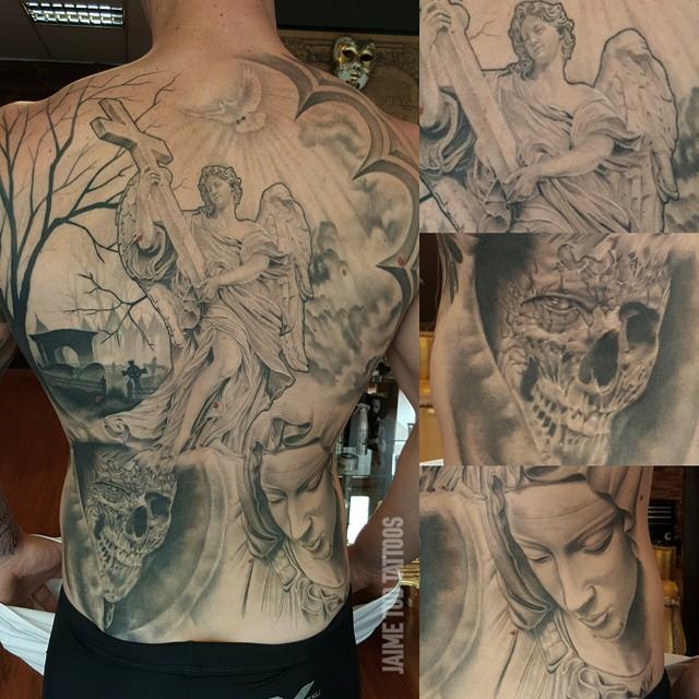 Angel Crucifix Religious Tattoo on Back
