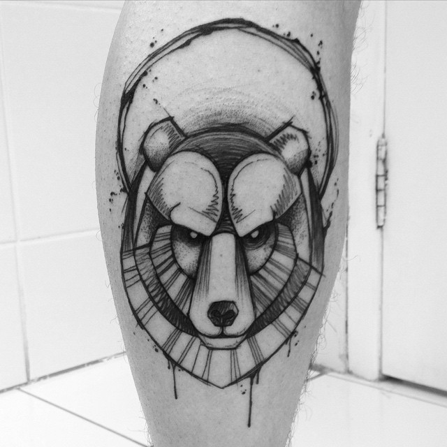 Angry Graphic Bear Tattoo on Calf