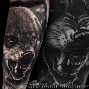 Angry Growling Wolf Tattoo on Arm