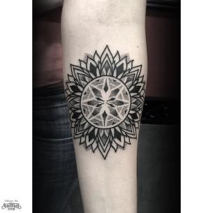 Arm Dotwork Many Layer Petals Mandala