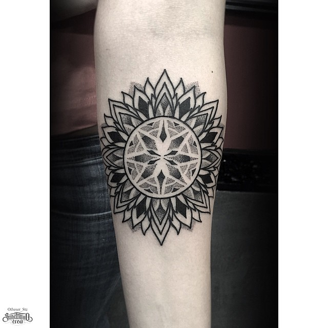 Arm Dotwork Many Layer Petals Mandala