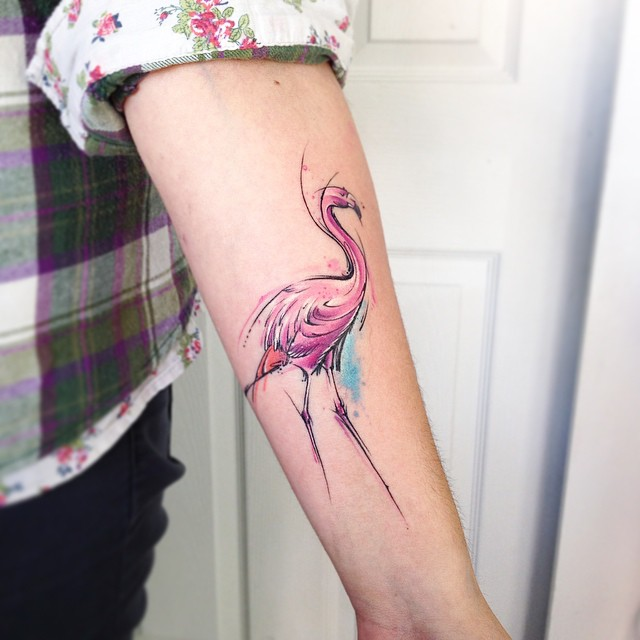 Arm Pink Flamingo Tattoo