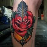 Arrow Shot Rose Leg Tattoo