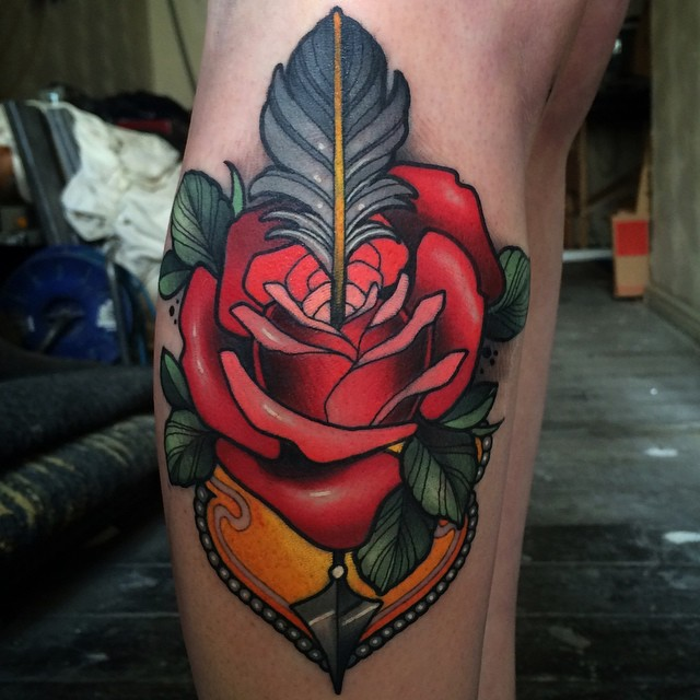 Arrow Shot Rose Leg Tattoo
