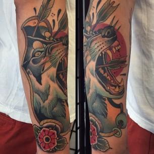 Arrow Shot Wolf New School Tattoo