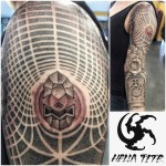 Awesome Graphic Geometry Tattoo Sleeve