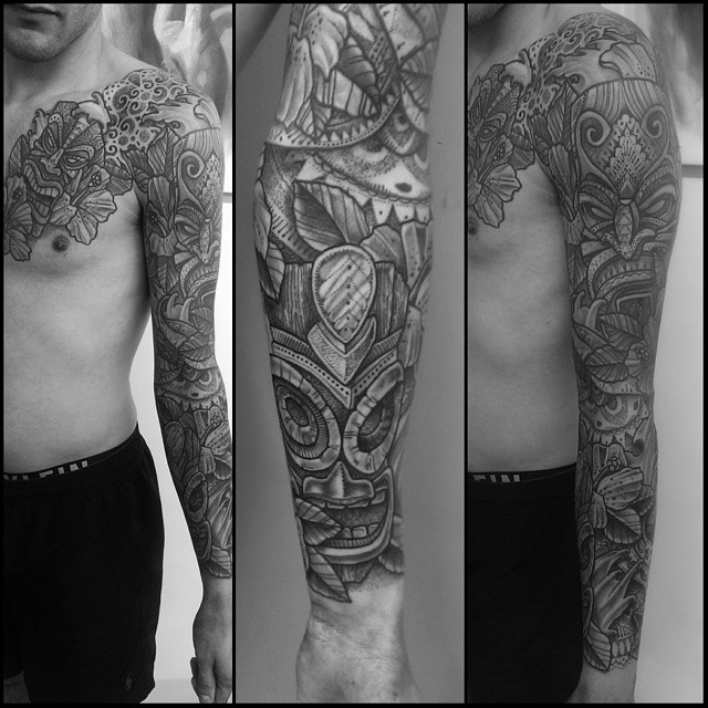 Aztec Stone Masks Tattoo Sleeve