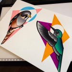 Background Geometry Birds Tattoo idea