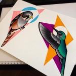 Background Geometry Birds Tattoo idea