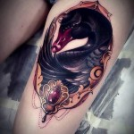Baroque Black Swan Tattoo on Thigh