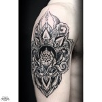 Beautiful Mehendi Dotwork Tattoo on Shoulder