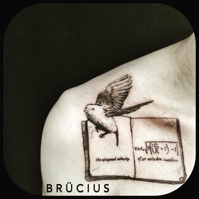 Bird of Science Tattoo on Collar Bone