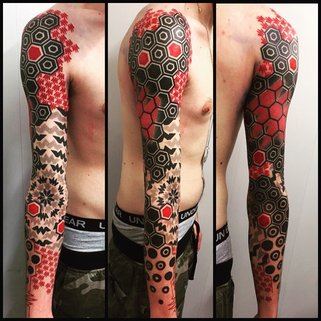 Black And Red Geometry Full Sleeve Tattoo