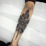 Black Arm Dagger Stabbed Flower Tattoo