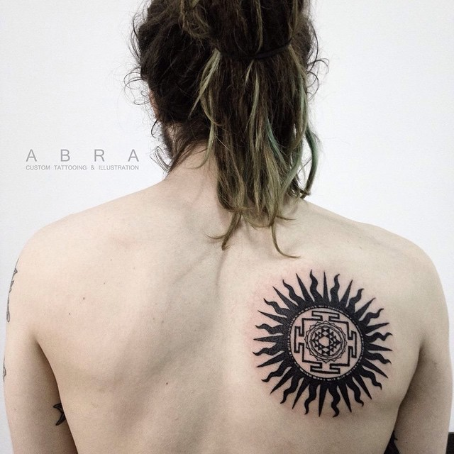 Black Aztec Sun Tattoo