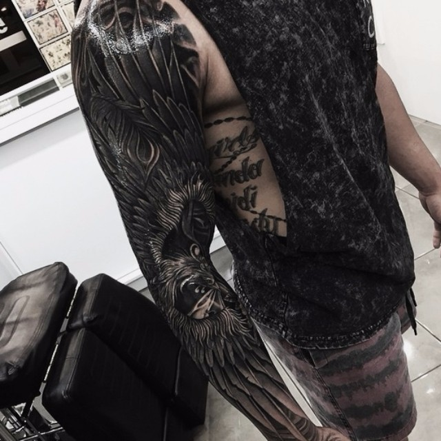 Black Peacock Tattoo Sleeve