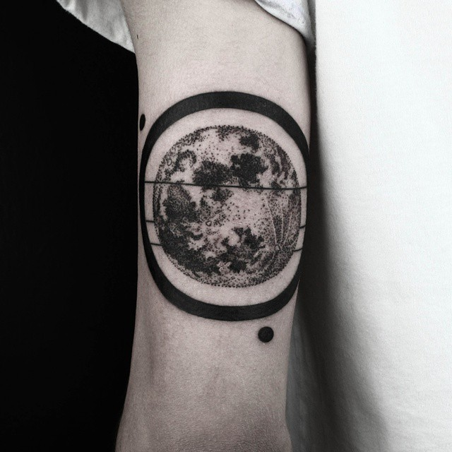 Black Ring Dotwork Planet Tattoo on Arm