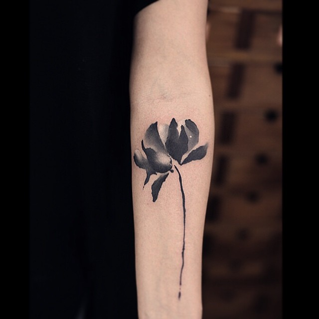 Black Watercolor Flower on Arm