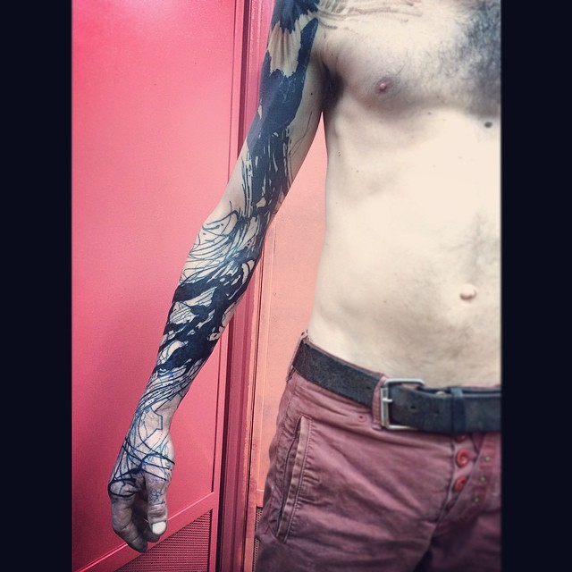 Blackwork Chaos Tattoo Sleeve