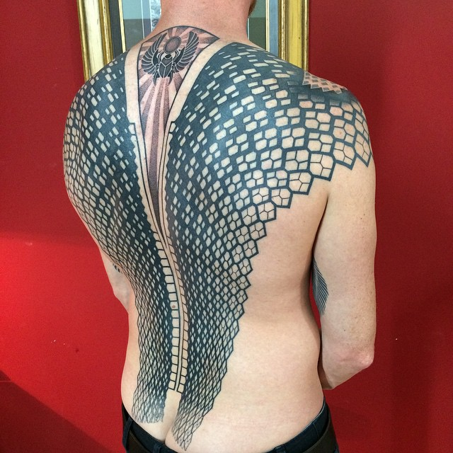 Blackwork Full Back Scarab Tattoo