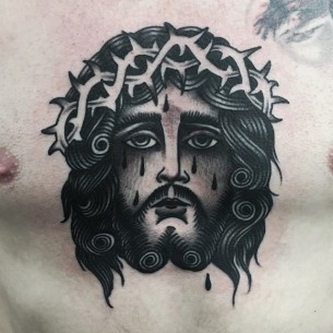 Blackwork Jesus Chest Tattoo