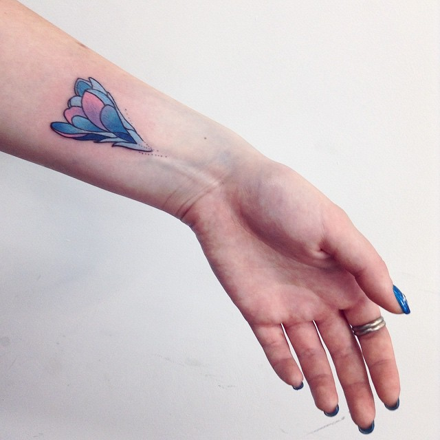 Blue Flower Small Tattoo on Wrist