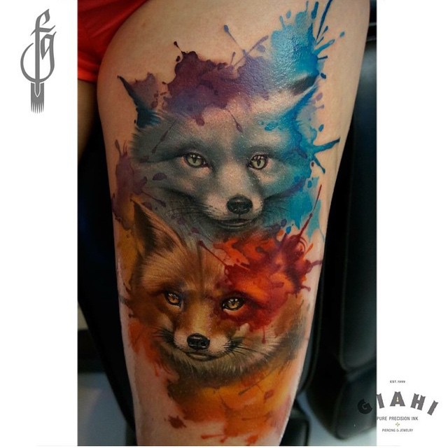 Blue Red Watercolor Foxes Tattoo on Thigh