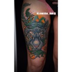 Blue Tiger Thigh Tattoo