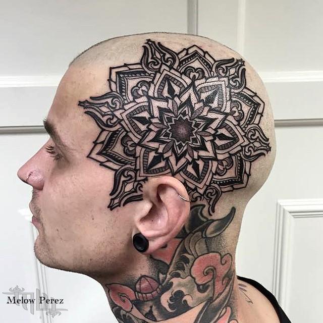 Bold Head Mandala Tattoo