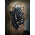 Boxing Gloves Tattoo on Shoulder