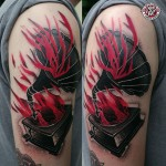 Burning Gramophone Shoulder Tattoo
