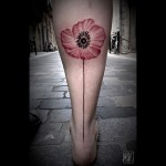 Calf Poppy by Noksi Tattoo