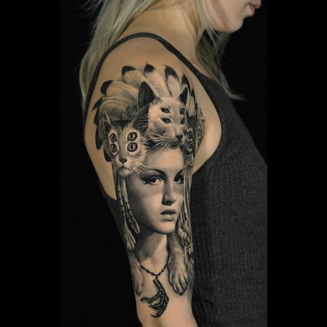 Cat Skin Indian Girl Tattoo on Shoulder